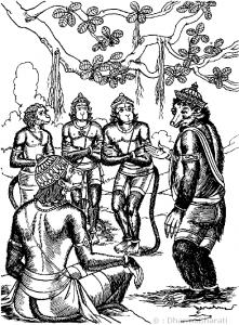 ವಾನರ ಚರ್ಚೆ (ಚಿತ್ರ: ಧರ್ಮಭಾರತೀ)